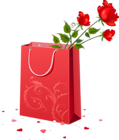 a gift bag with a red rose