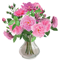a vase with pink roses