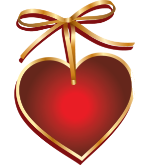 a red heart with a gold bow