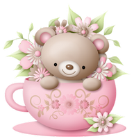 a cute pink teddy in a tea cup