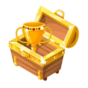 a gold cup in a chest