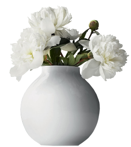 a beautiful vase with white peonies