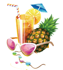 a pineapple cocktail with sunglasses